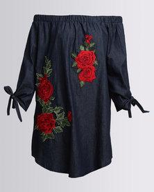 AX Paris Embroidered Denim Dress Blue