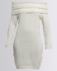 AX Paris Knit Jumper Dress Cream