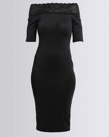 AX Paris Lace Trim Off Shoulder Midi Black