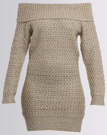 AX Paris Knit Bardot Dress Oatmeal