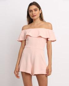 AX Paris Ruffle Bardot Playsuit Pink