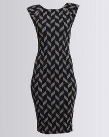 AX Paris Cap Sleeve Midi Dress Navy Print