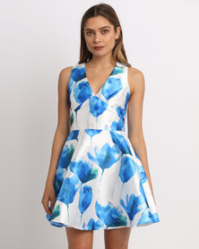 AX Paris Skater Floral Dress Blue/Cream