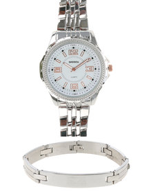 Bad Boy Bomber Analogue Watch and S/S Bracelet Silver-tone