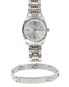Bad Boy Watch and Bracelet Set Silver-tone
