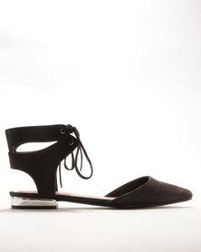 Bata Pointy Lace Up Flats Black