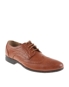 Bata Formal Lace Up with Design Detail Shoes Brown