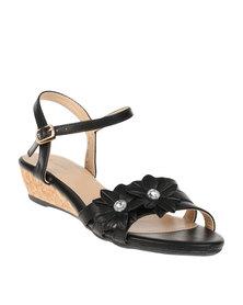 Bata Ladies Wedge Ankle Strap Sandals Black