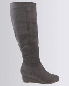 Bata Suede High Boots Grey