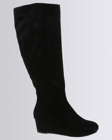 Bata Suede High Boots Black