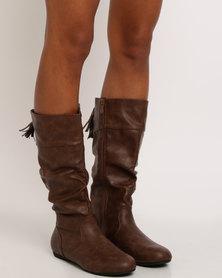 Bata PU High Boots Brown