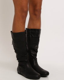 Bata PU High Boots Black