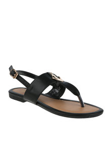 Bata Ladies Sandals With Anchor Detail Black