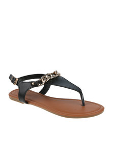 Bata Ladies Sandals With Gold Chain Detail Black