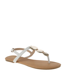 Bata Ladies Sandals With Gold Detail White