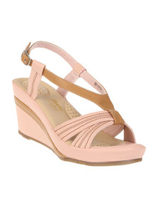 Bata Ladies Wedge Slingback Sandals Pink
