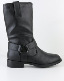 Bata Flat Boot with Buckle Detail Black