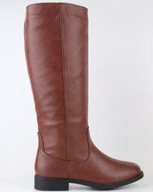 Bata Long Flat Boot with Elasticated Top Brown