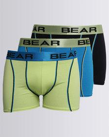 Bear 3 Pack Contrast Coverseam Block Bodyshort Multi