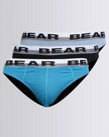 Bear 3 Pack Mini Underwear Plain Black/Turquoise/Grey