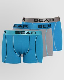 Bear 3 Pack Curve Stitch Detail Bodyshorts Turq/Teal