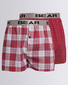 Bear 2 Pack Yarn Dye Boxer Red