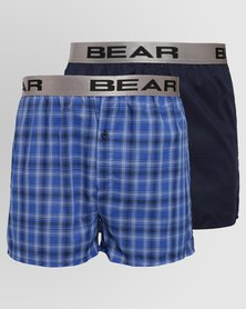 Bear 2 Pack Bear Woven Check Boxers Blue/Navy