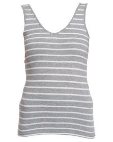 Betty Basics Mia V-Neck Tank Top Silver/White