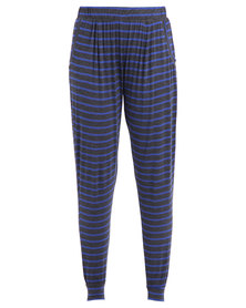 Betty Basics Paris Stripe Pants Grey & Blue