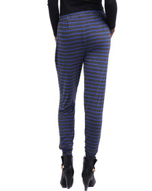 Betty Basics Paris Stripe Pants Grey & Blue