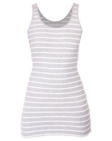 Betty Basics Whitney Tank Dress Silver and White