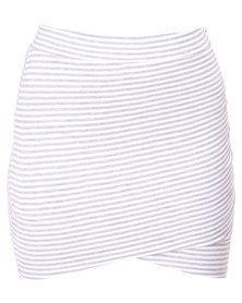 Betty Basics Madrid Wrap Skirt Silver/White