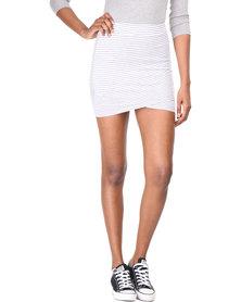 Betty Basics Madrid Wrap Skirt Silver/White