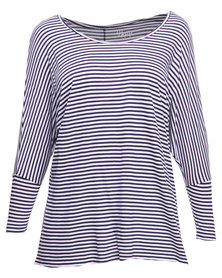 Betty Basics Milan 3/4 Sleeve Top Navy & White