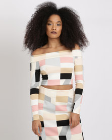 Black Buttons Crop Top And Pencil Skirt Multi