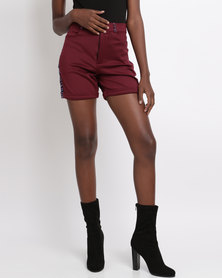 Black Buttons Shorts with African Print Detail Burgundy