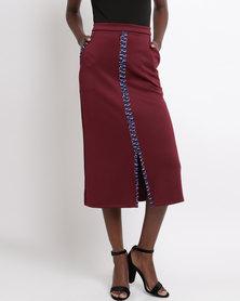 Black Buttons Pencil Skirt Burgundy