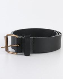 Black Lemon Bonded Leather Belt Black