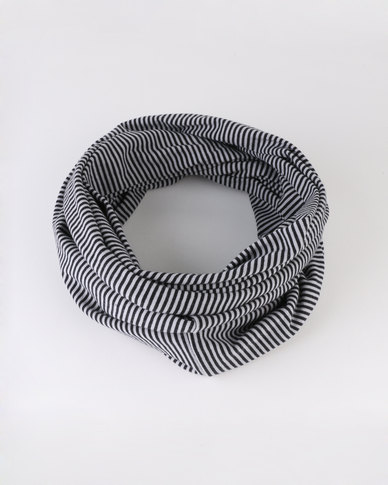 Black Lemon Cotton Knit Stripe Snood Black