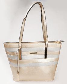 Blackcherry Bag Stripe Tote Gold and Silver
