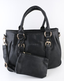 Blackcherry Bag Classic Ladies Bag with Buckle Trims Black
