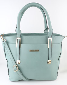 Blackcherry Bag Tote with Metal Trims Green