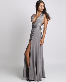 Bombshell Plisee Multi Wrap Dress Silver