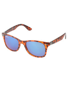 BONDIBLU COLOUR LENS TORTOISE WAYFARER SUNGLASSES BROWN