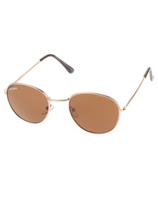 BONDIBLU ROUND SUNGLASSES GOLD/BROWN