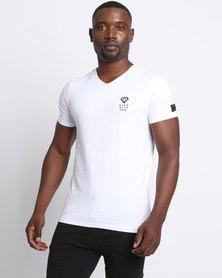Born Rich Agate V-neck T-Shirt White