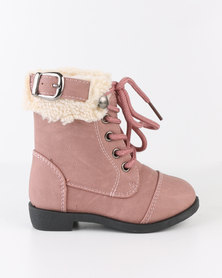 Bratz Girls Lace Up Boots Pink