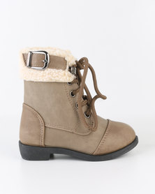 Bratz Girls Lace Up Boots Taupe