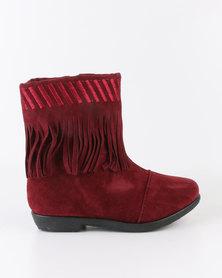 Bratz Girls Tassel Detail Ankle Boot Wine Red