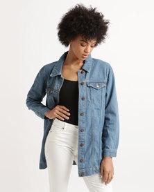 Brave Soul Longer Length Denim Jacket Blue